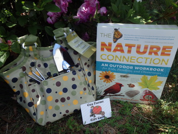 Garden tote for kids with hand rake and trowel plus The Nature Connection workbook about flora fauna and nature and science plus gift card to Cox Farms