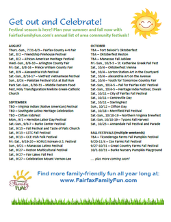 Summer and fall community festivals in Fairfax and Northern Virginia DC Metro area DC suburbs food wine carnival fall harvest festivals summer events 4H county fair cultural ethnic international