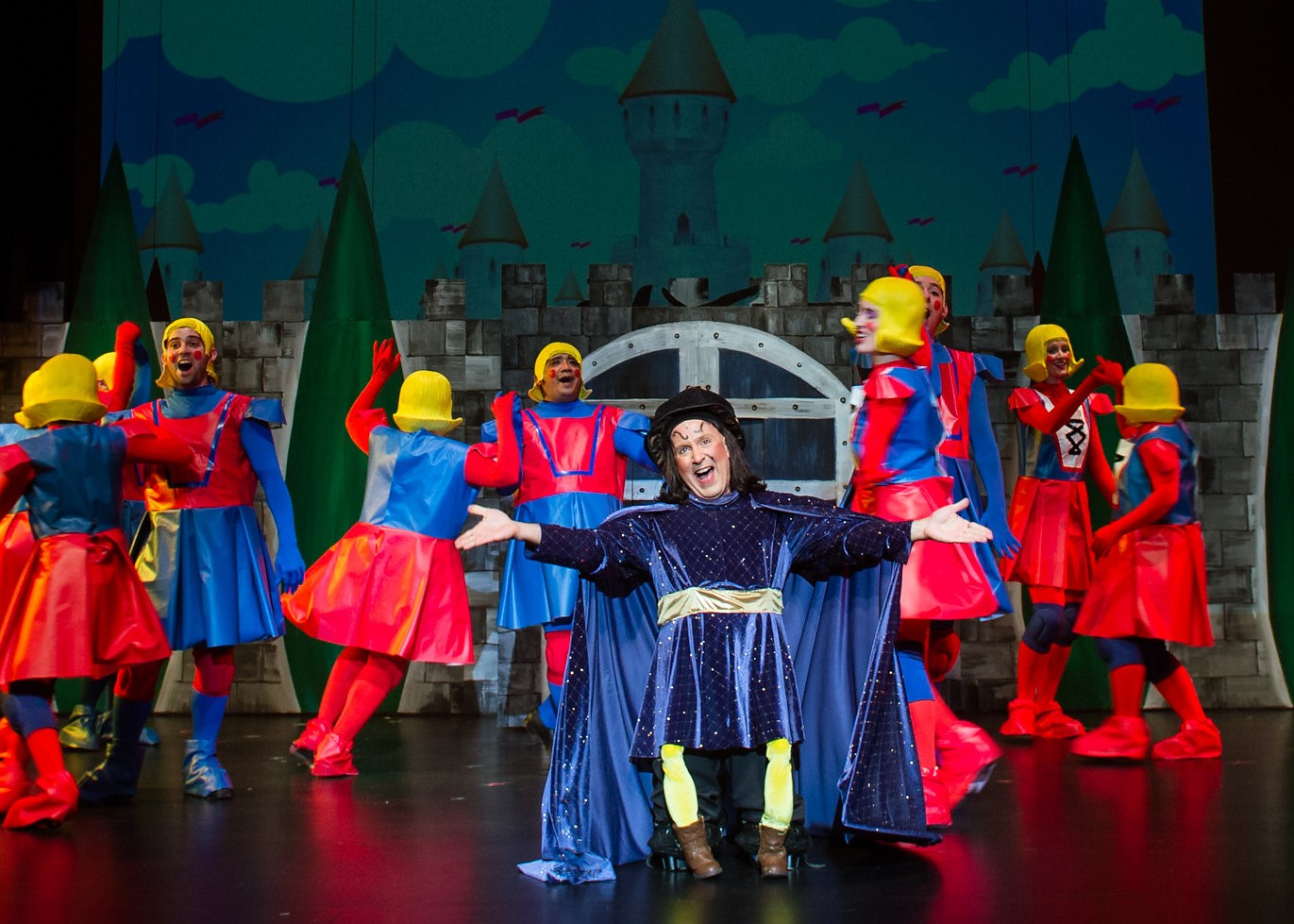 Chuck Dluhy as Farquaad with the Duloc Dancers. Photo by Traci J. Brooks Studios.
