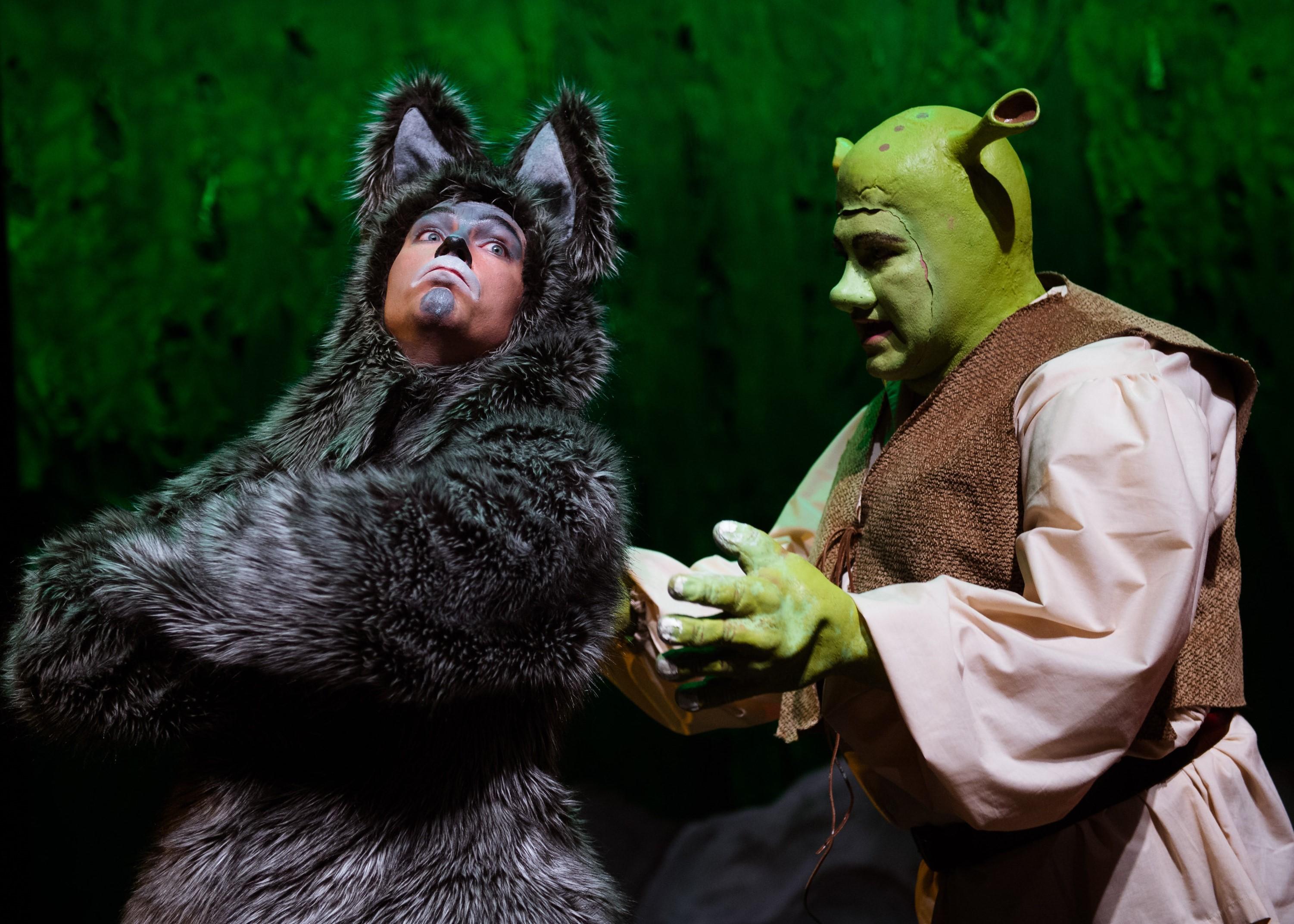 Joshua Redford and Paul Tonden as Donkey and Shrek. Photo by Traci J. Brooks Studios.