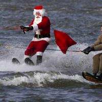 Wild winter fun: Water-skiing Santa returns!