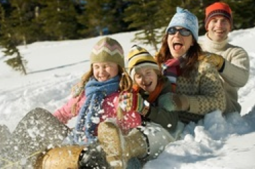 Sledding sled toboggan family fun winter snow