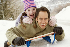 Sled sledding winter family fun Northern Virginia
