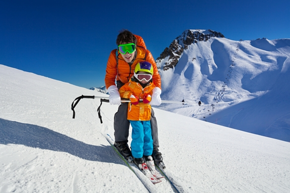 Father son skiing kids children slopes snow snowskiing ski family fun Northern Virginia DC area East Coast winter resorts