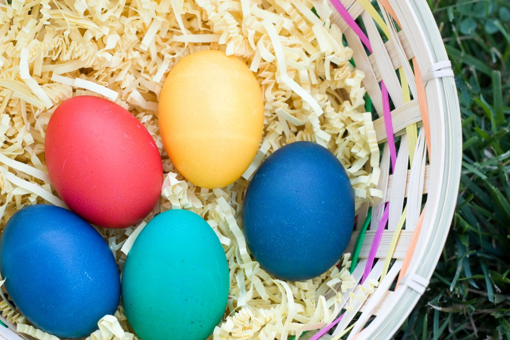 Easter basket with colorful eggs, for list of spring and Easter events and family fun in DC and Northern Virginia