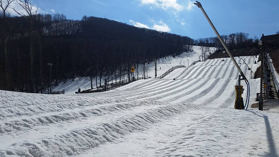 10-lane snow tubing hill, The Plunge, at Wintergreen Resort in Virginia; this is the largest tube park in the state