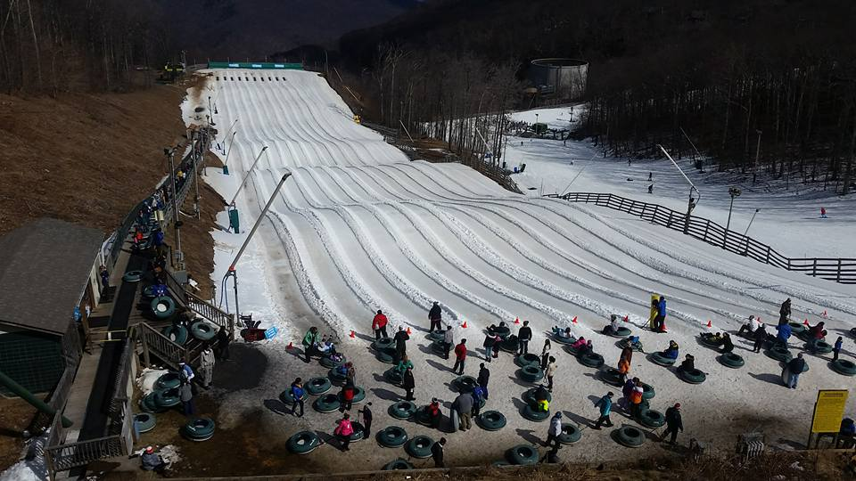 Snow tubing at The Plunge at Wintergreen Resort in Virginia; riders waiting for their turn