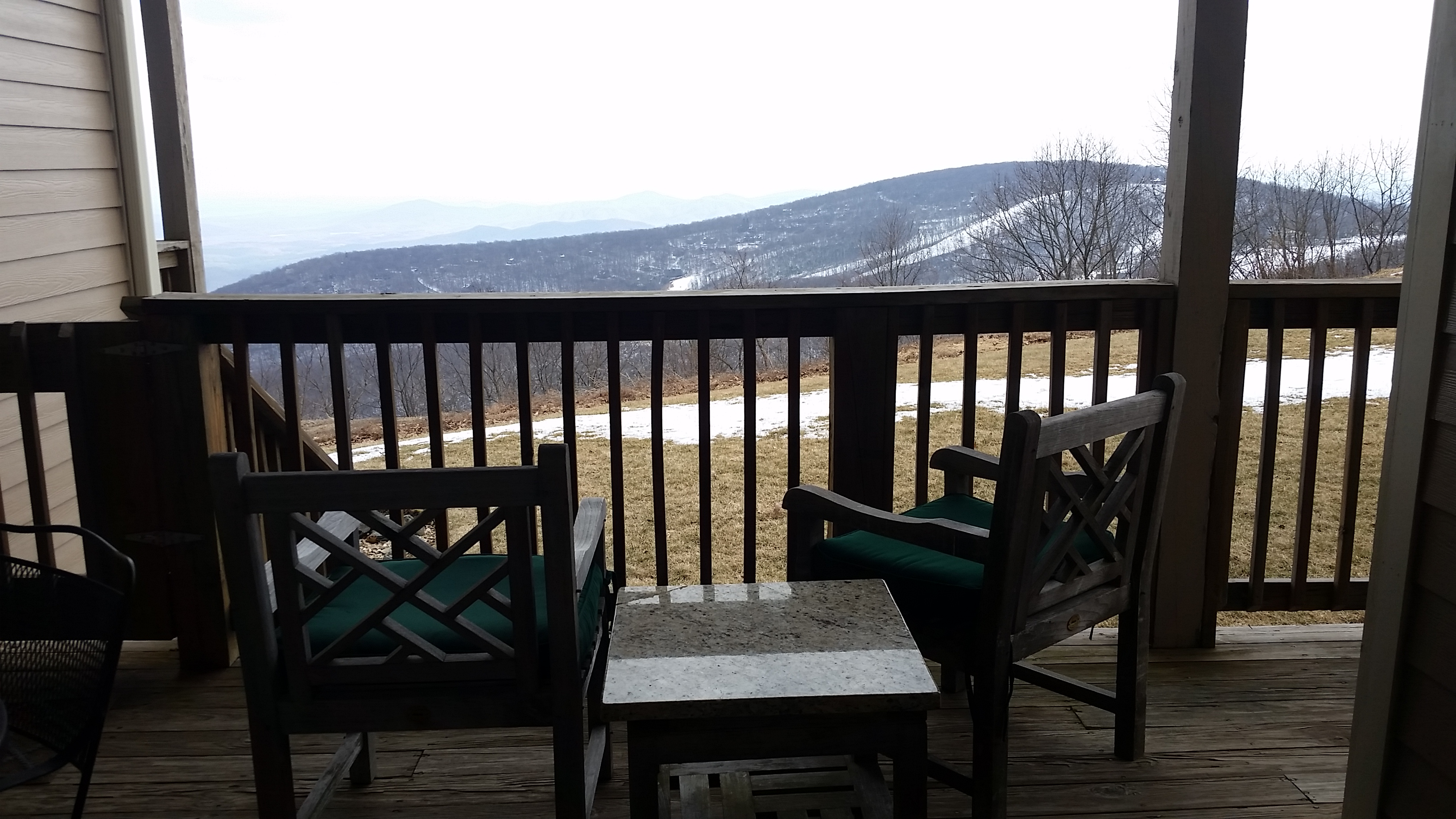 View of the mountains from the deck at Overlook condos, Wintergreen Resort in Virginia