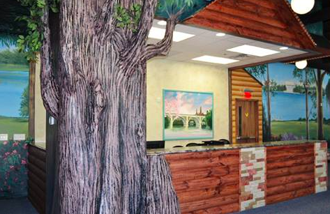 """Fun """"outdoor"""" looking lobby at Dentistry for Children, a pediatric dental practice"""