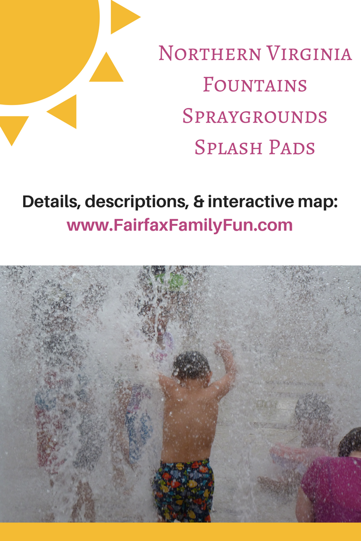 Spraygrounds, spray grounds, fountains, splash fountains, water fountains, and splash pads for kids in Northern Virginia, free summer fun