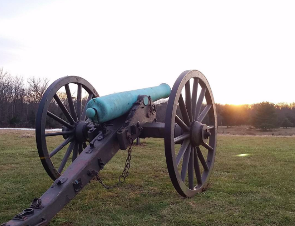 A canon at sunset at Manassas National Battlefield Park