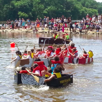 Cardboard boat regatta: may the best team stay afloat!