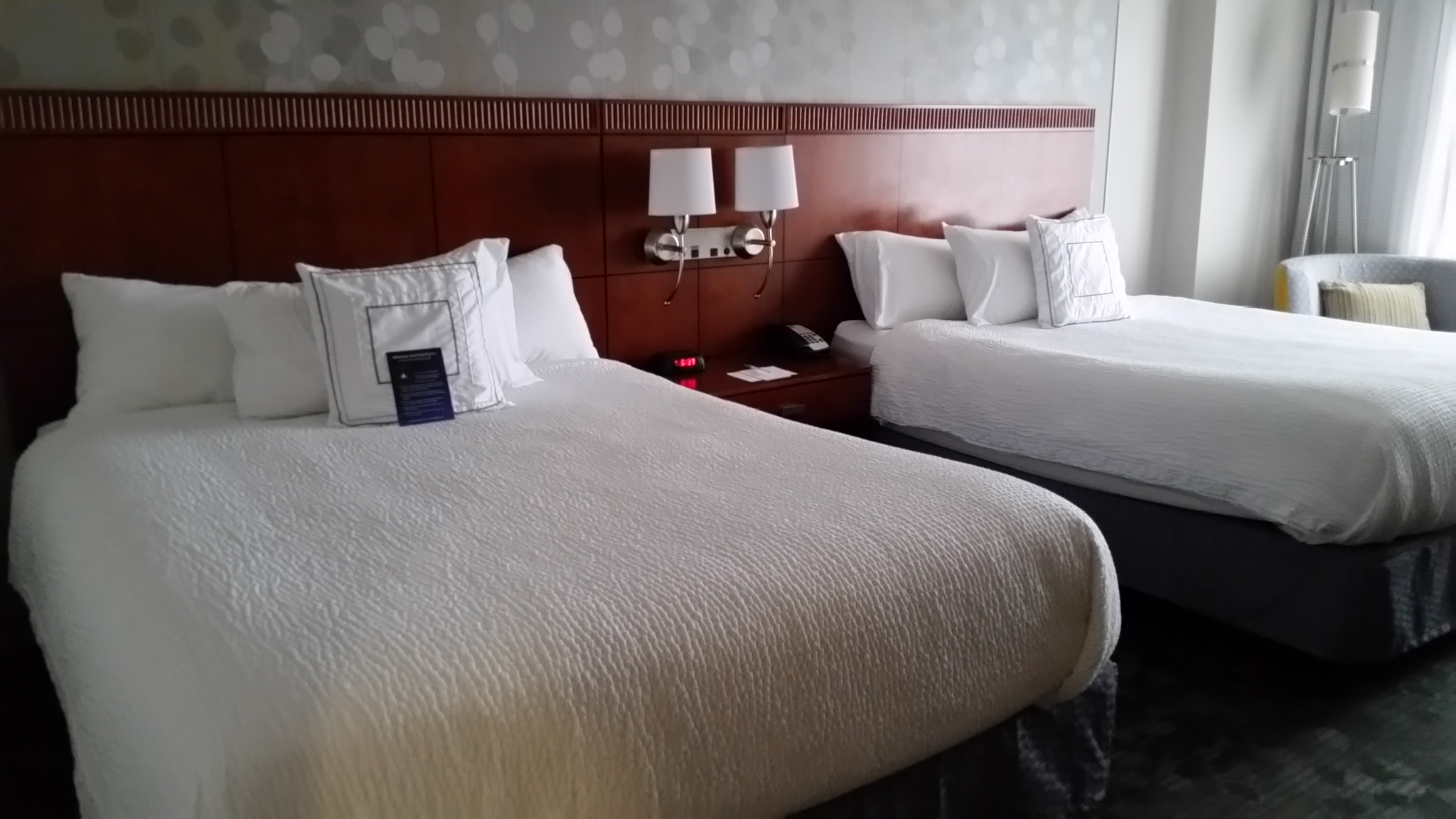 A standard room with two full size beds at the Courtyard Marriott hotel in Gettysburg