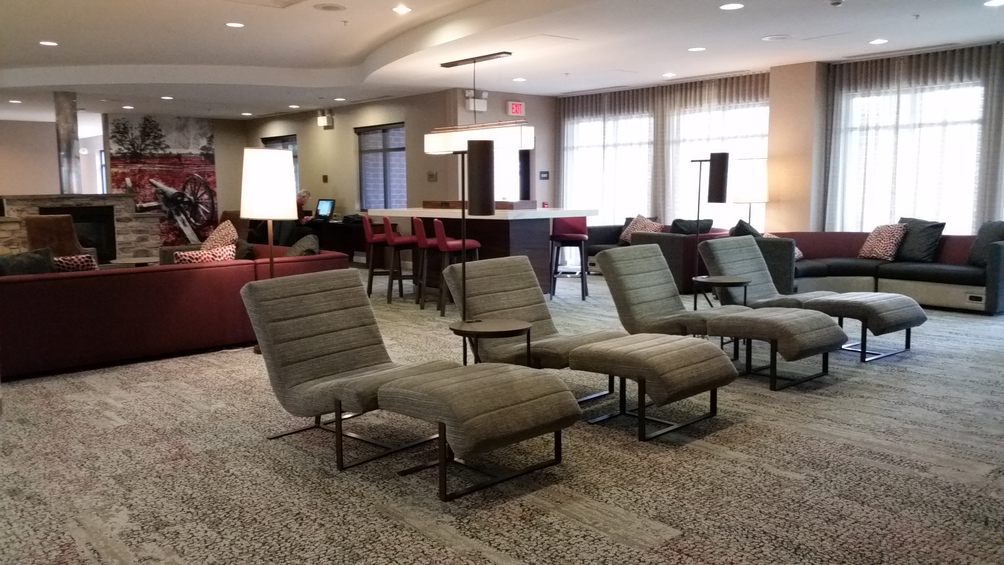 Chaise longue chairs in the lobby of the Courtyard by Marriott Gettysburg
