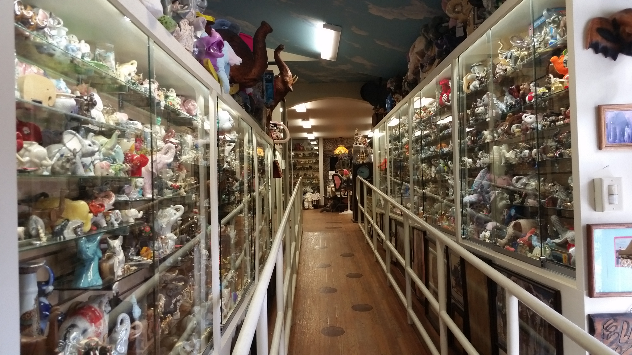 Elephant items on display at Mister Ed's Elephant Museum and Candy Emporium