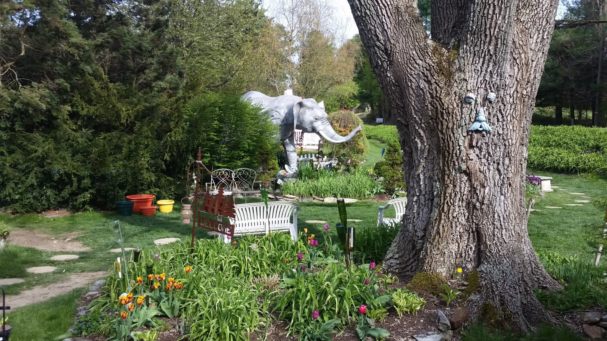 The garden with large elephants at Mister Ed's Elephant Museum and Candy Emporium near Gettysburg