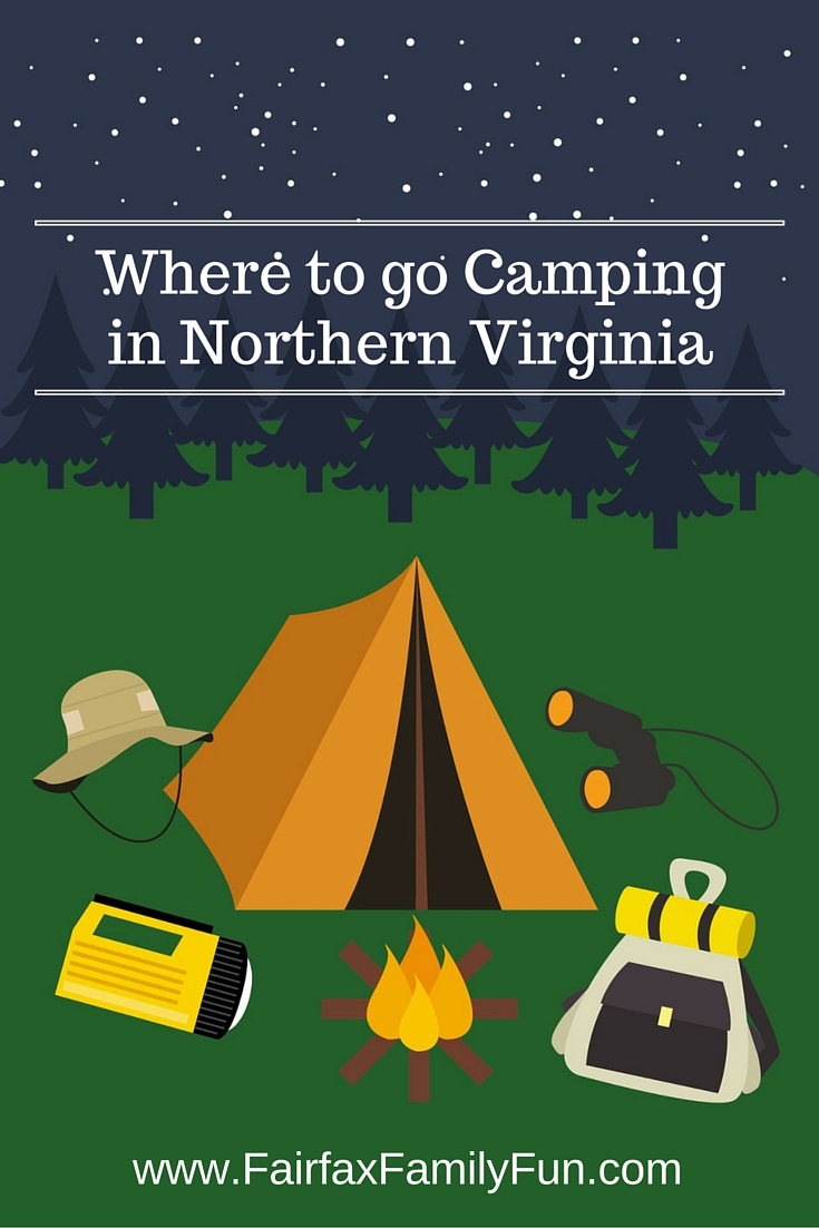 Graphic for a list of campgrounds in Northern Virginia