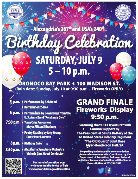 Flyer for event City of Alexandria  Virginia and USA birthday celebration and fireworks