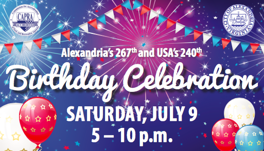 City of Alexandria and USA birthday celebration flyer for 2016 event