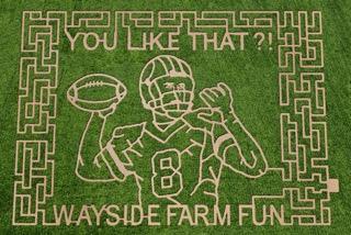 Wayside Farm Fun Redskins corn maze picturing Kirk Cousins