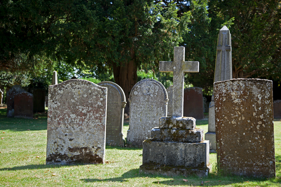 Head stones in an old graveyard on Find a Grave Day