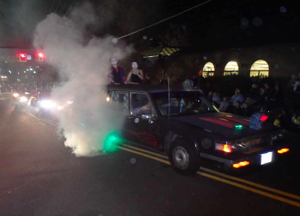 Decorated car with smoke and lights at the Vienna, Virginia, Halloween parade