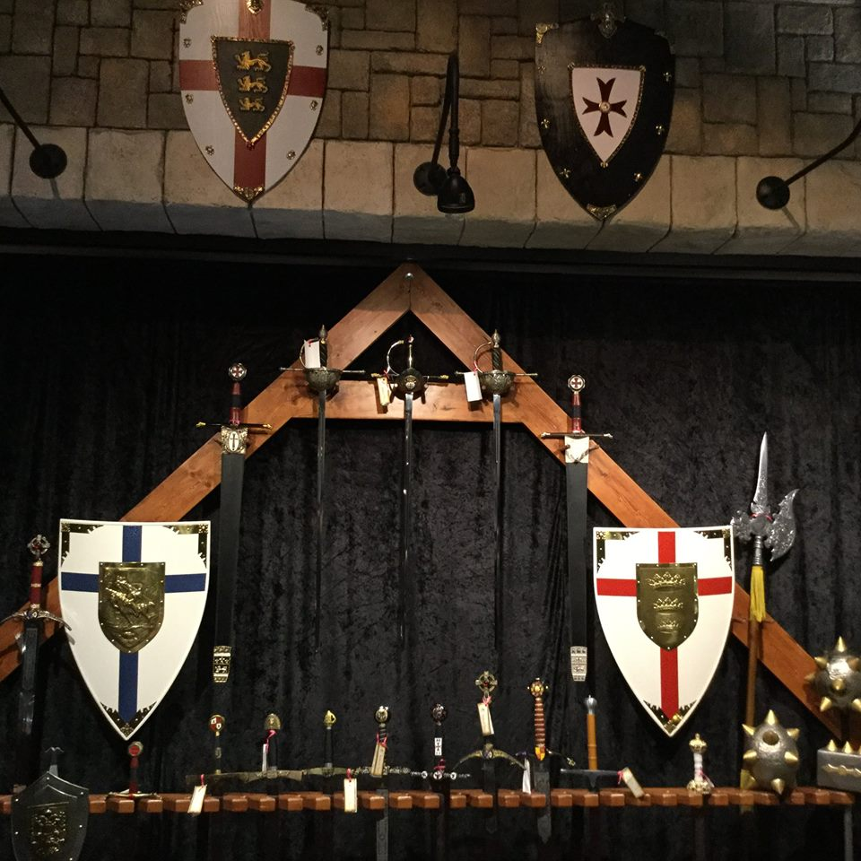 Swords and shields on display at Medieval Times