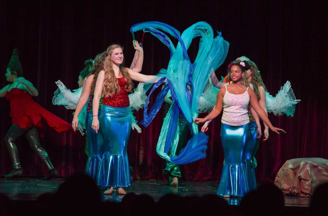 Left to right: Gillian Walker and Bell Andrzejuk as Mersisters; photo by Melanie Beus for MVCCT