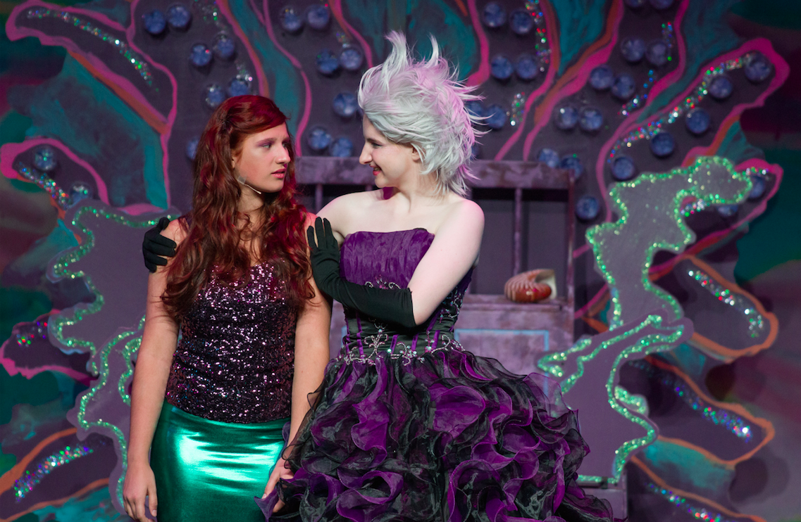 Left to right:  Nicole Jones as Ariel and Annlouise Conrad as Ursula; photo by Melanie Beus for MVCCT