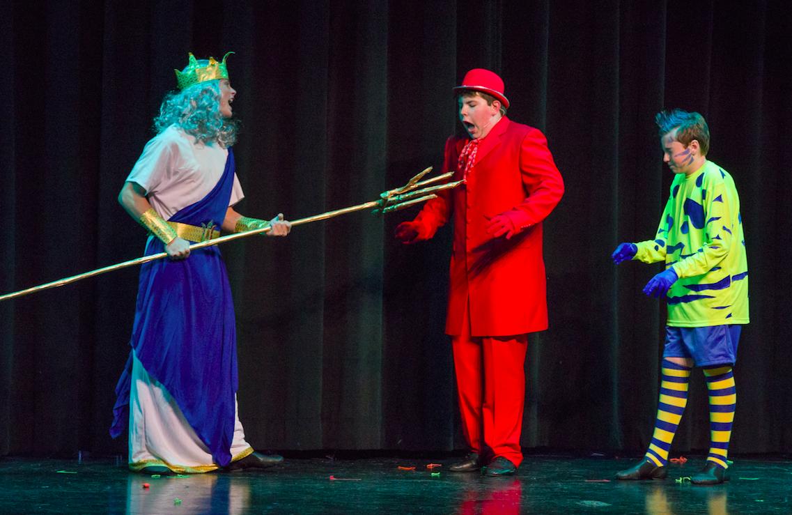 Left to right:  Brevan Collins as King Triton, Aidan White as Sebastian and Stuart Conrad as Flounder; photo by Melanie Beus for MVCCT