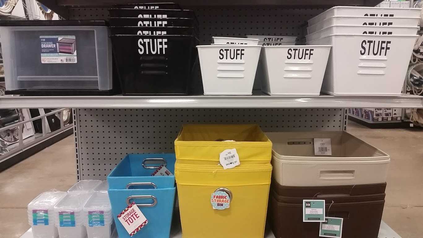 "What better place for ""stuff"" than a bin marked ""stuff?"""