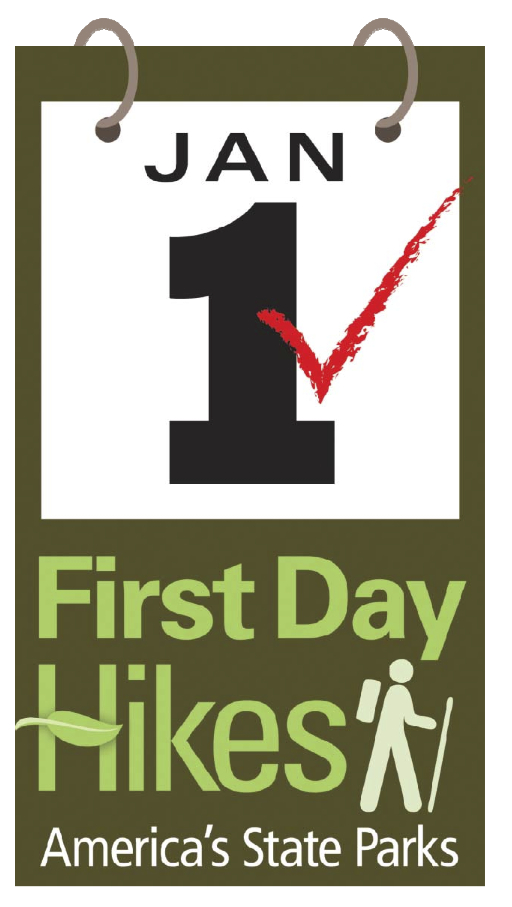 First Day Hikes logo with January 1