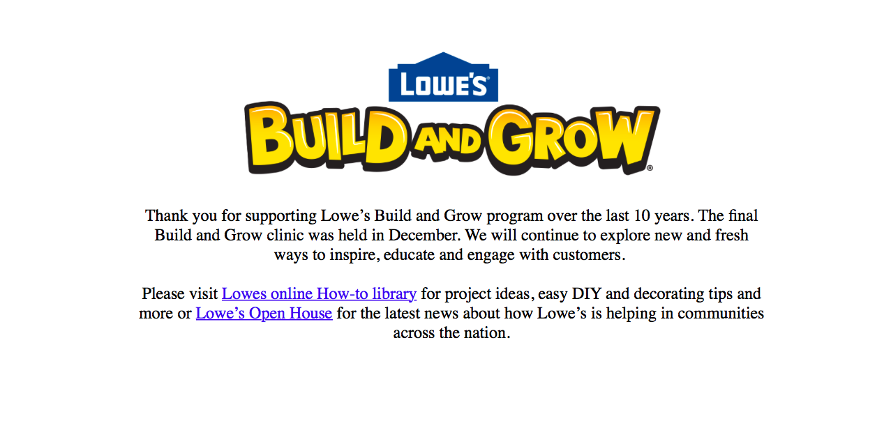 Lowes Build and Grow program ends - Fairfax Family Fun