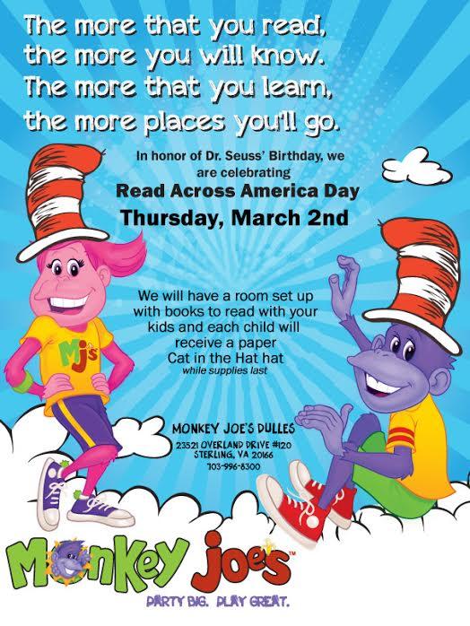 Flyer for Read Across America Monkey Joe's Dulles event
