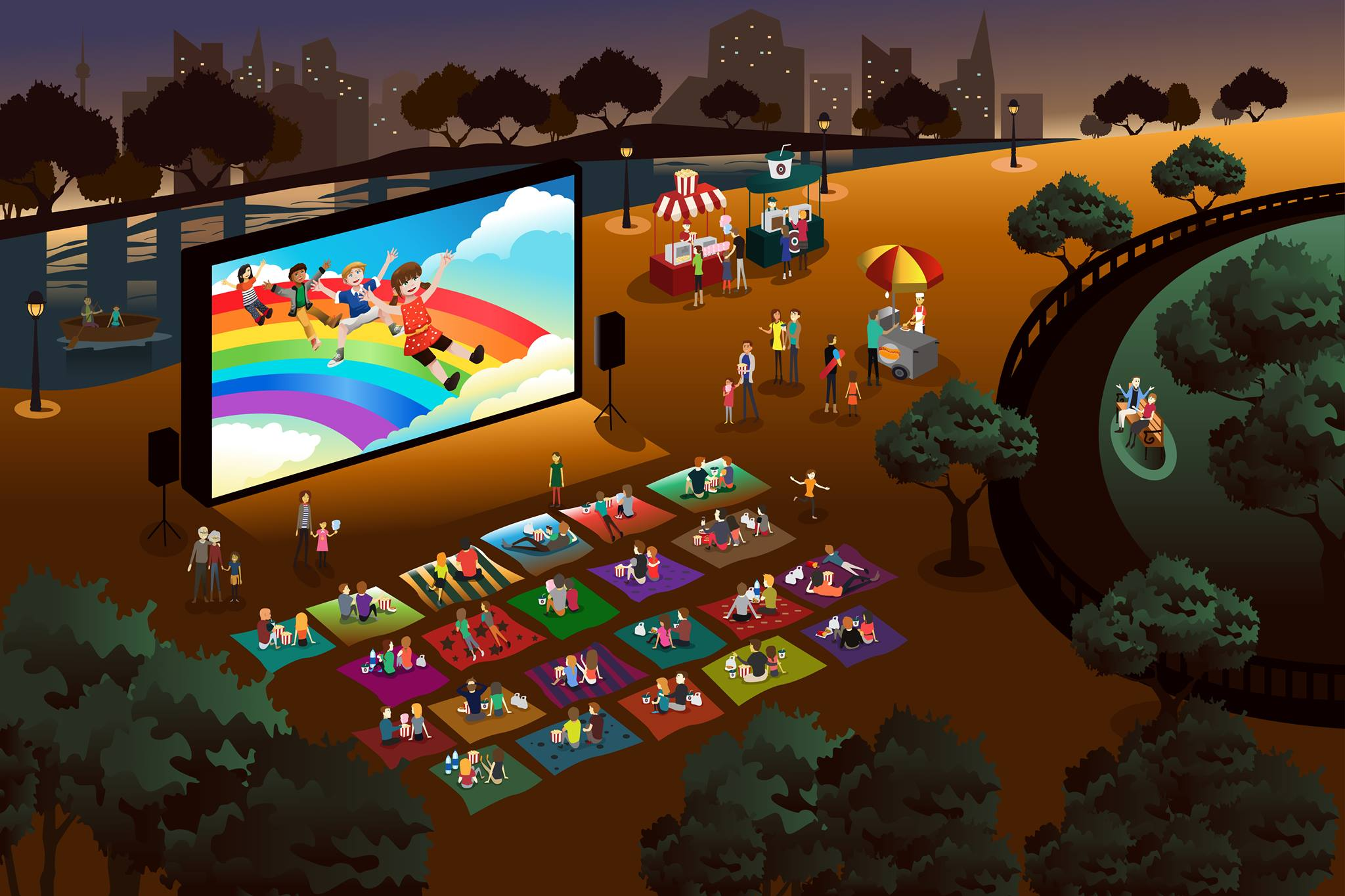 graphic of families enjoying an outdoor movie in a park
