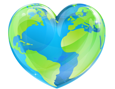 Earth Day Earth globe in the shape of a heart, ideas to celebrate Earth Day in 2020