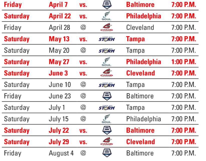Washington Valor AFL Arena Football League schedule