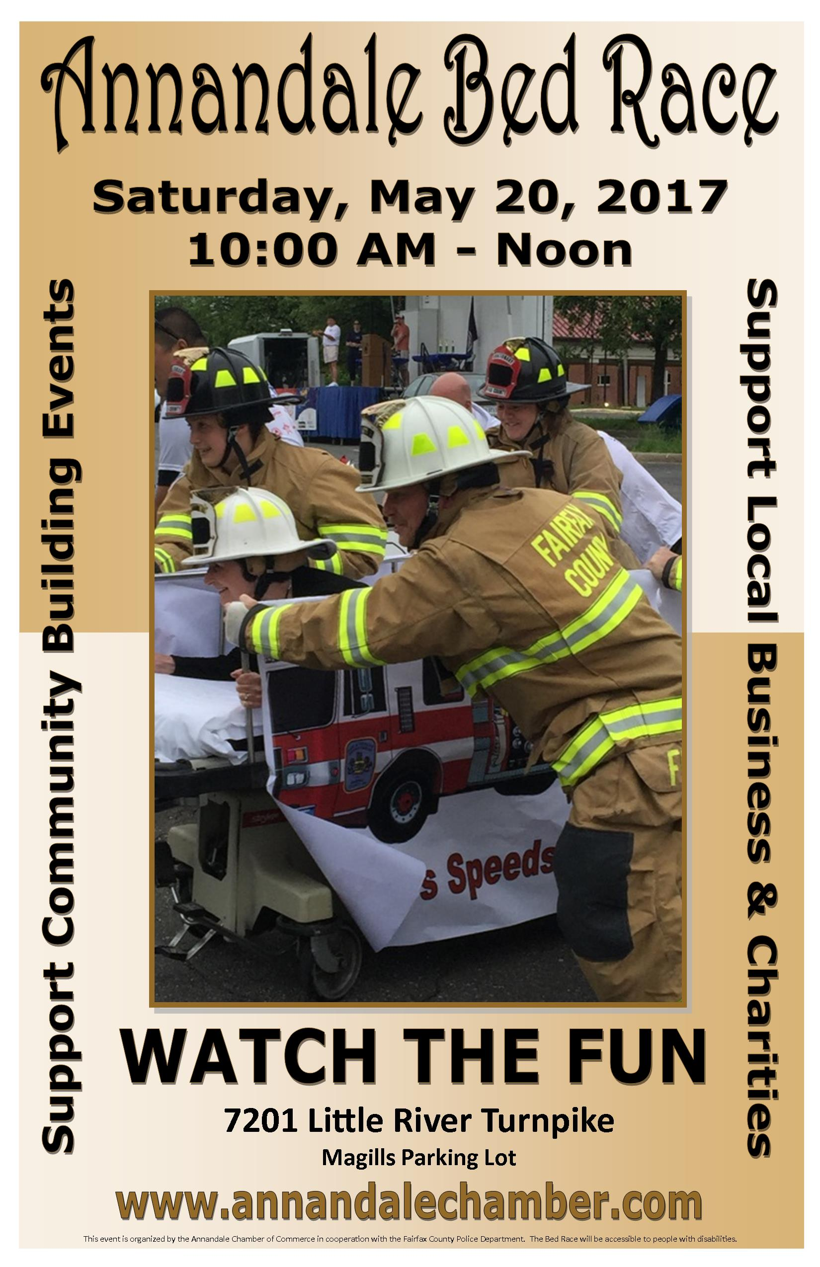 Poster for 2017 Annandale Bed Race charity event with firefighters pushing a decorated hospital bed