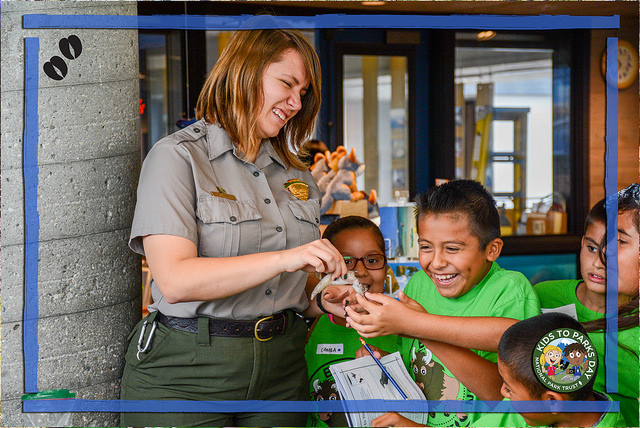 Park ranger with kids on Kids to Parks Day