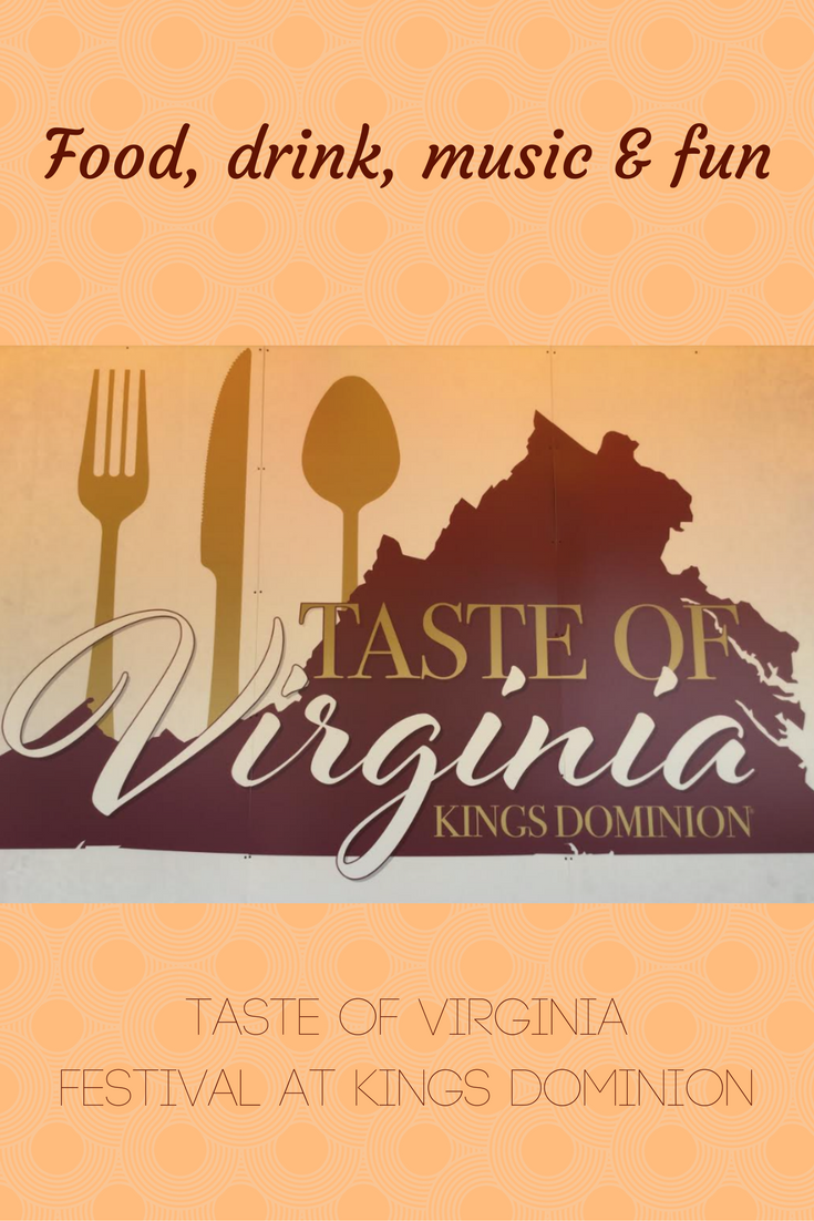 Logo with state and cutlery for Taste of Virginia at Kings Dominion