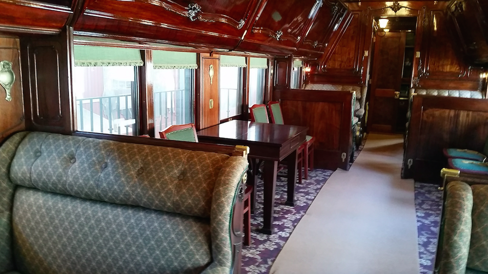 interior of the Sunbeam Pullman car at Historic Hildene, Lincoln family home in Manchester, Vermont