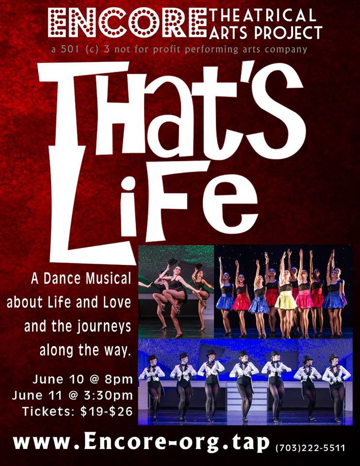 Flyer for That's Life, spring 2017 show for Encore Theatrical Arts Production