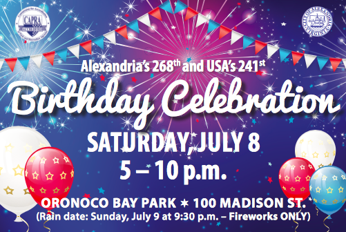 Alexandria and USA birthday celebration with fireworks announcement