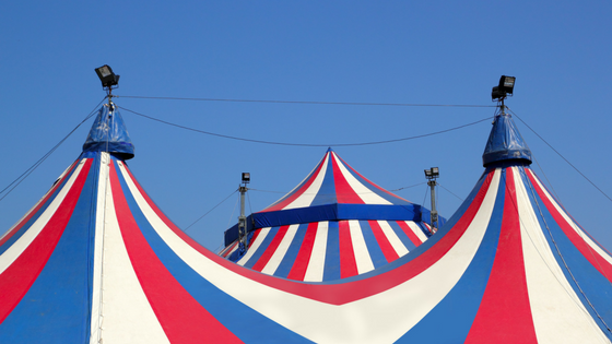 circus big top in red, white and blue for Smithsonian Folklife Festival