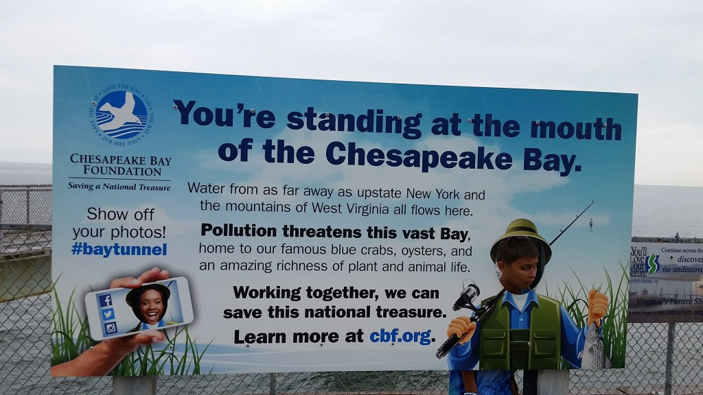 Sign with Chesapeake Bay facts outside the Chesapeake Bay-Bridge Tunnel restaurant