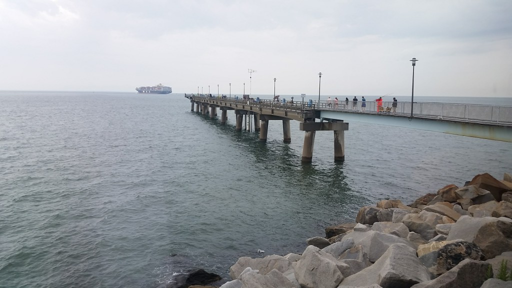 Chesapeake Bay-Bridge Tunnel restaurant view of the pier with naval ships