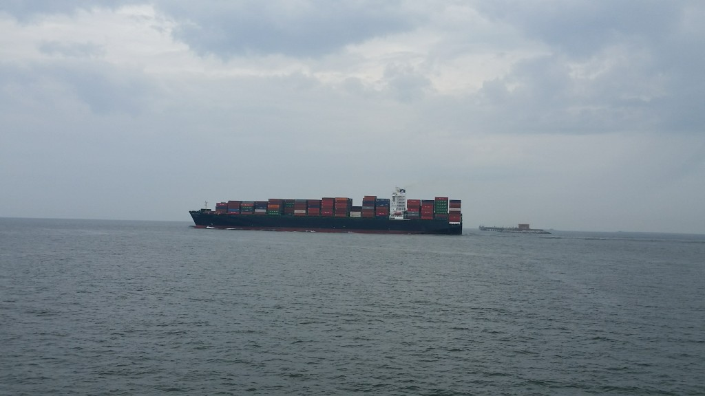 Cargo ship passing on the Chesapeake Bay near the Chesapeake Bay-Bridge Tunnel restaurant