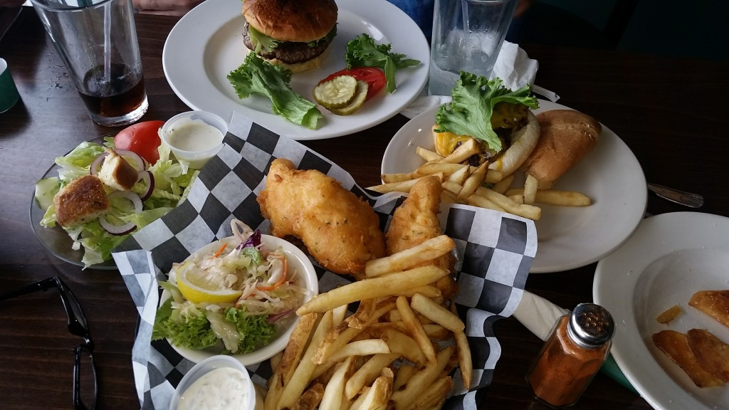 Chesapeake Bay-Bridge Tunnel restaurant: Menu items include fish and chips, burgers, and salads.