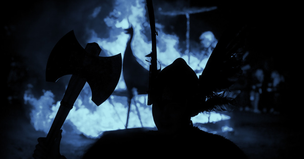Dark image of a viking holding an axe, promo for Halloween event Busch Gardens Howl-o-scream