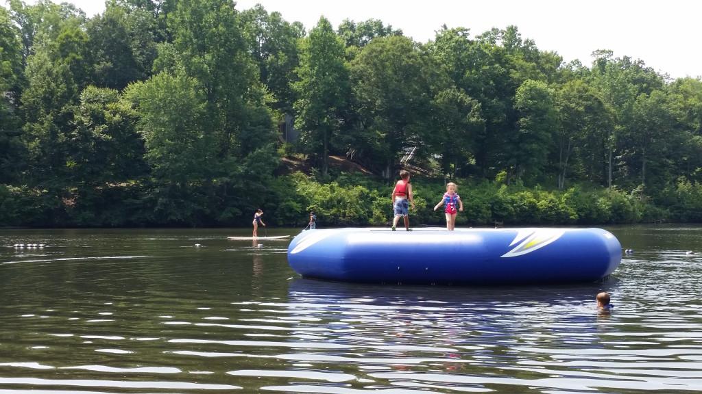 Lake Monocan trampoline at Wintergreen Resort, kids jumping